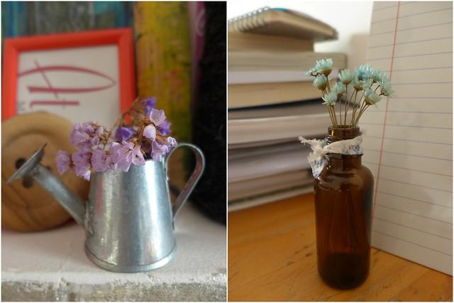 Mini-flores em vasinhos
