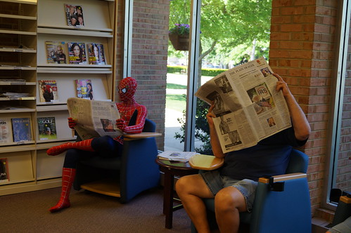 Spiderman uses Super Search Powers at Chardon Library! by Geauga County Public Library