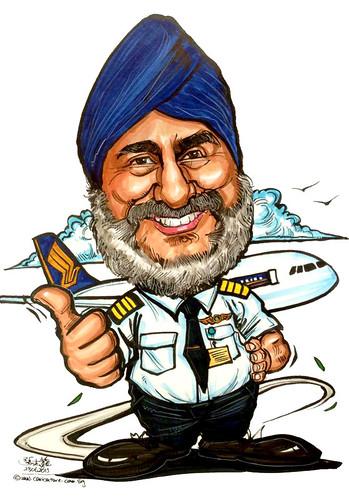 SIA pilot caricature