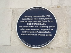Photo of Town Hall, Christchurch and John Edward Walcott blue plaque