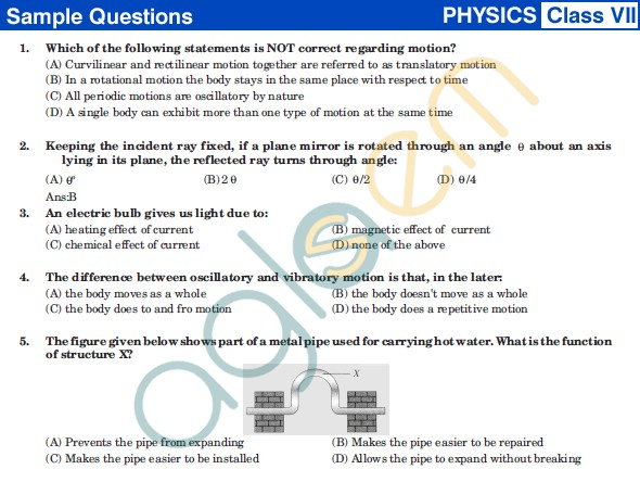 UCO 2013 Sample Papers for Class VII - Physics