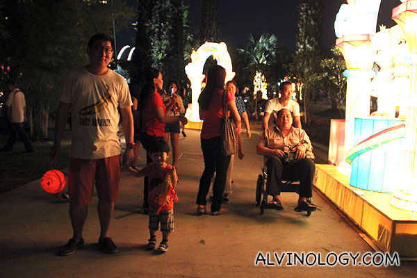 Asher and I at Gardens by the Bay with his new toy aeroplane lantern