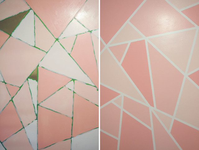 Diy Geometric Paint Glitter Wall