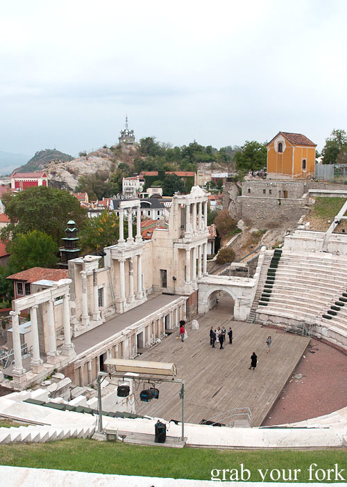 Ancient theatre in Plovdiv Old Town Bulgaria