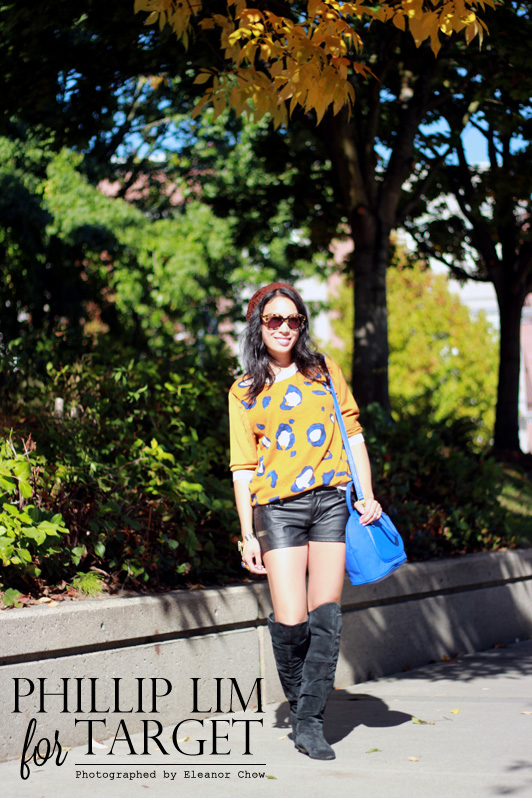 3.1 Phillip Lim for Target leopard print animal sweater, Forever 21 faux leather shorts, Chinese Laundry suede over the knee boots, cobalt Merona satchel bag, Karen Walker Number One Sunglasses. YSL Arty ring, fall, fashion, Vancouver, knit beanie