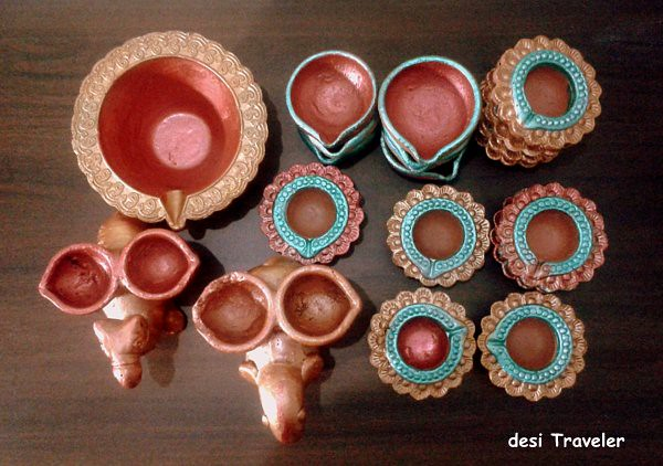 Hand painted Diyas for Green Diwali Earthen Lamps