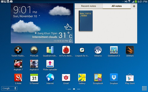 Home screen ของ Samsung Galaxy Note 10.1 2014 Edition