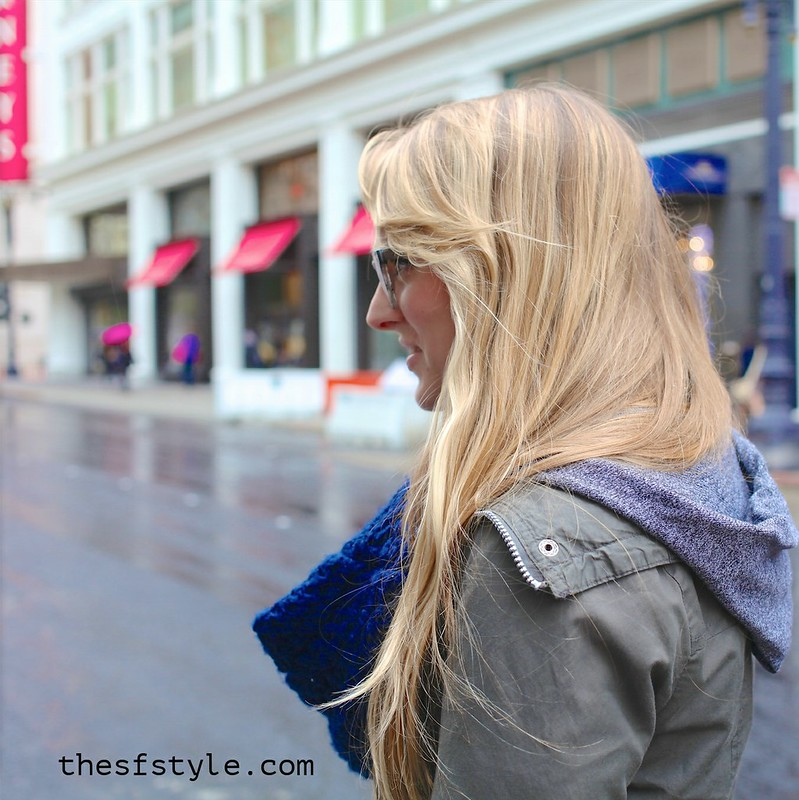 pantone blue infinity scarf, military style jacket, hunter boots, thesfstyle, STREETFASHIONSTYLE, san francisco streetstyle fashion blog,