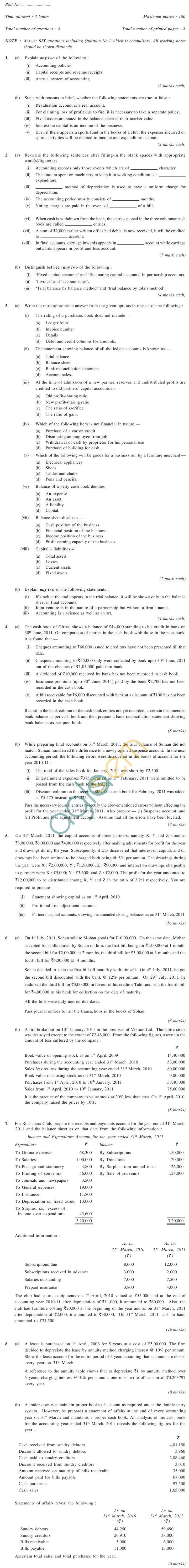 CS Foundation Question Papers Dec 2011 - Financial Accounting