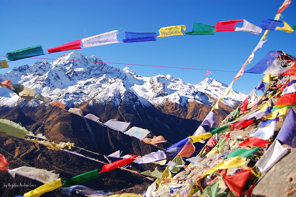 Tibetan Prayer Flags on Kyanjing Ri, Kyanjing Gompa, Langtang Trek, Nepal
