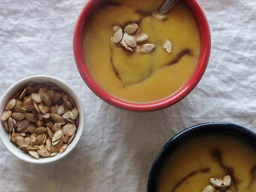Creamy Butternut Squash Soup with Balsamic Drizzle and Roasted Squash Seeds