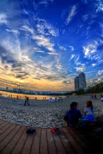sea sky people beach japan tokyo couple daiba