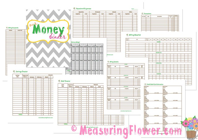 our money binder plus free printables measuring flower