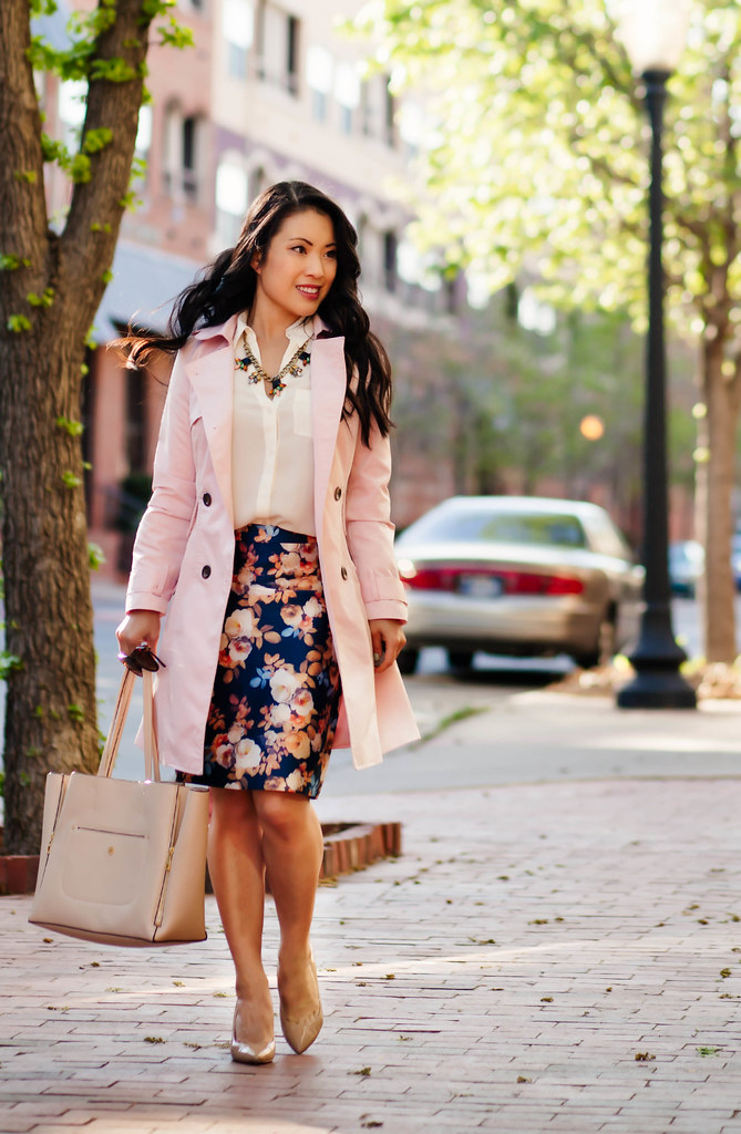 cute & little blog | petite fashion | pink trench, white blouse, j.crew antique floral pencil skirt, statement necklace | spring outfit