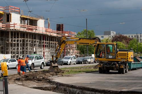 Gleisbauarbeiten in der Schleife am Scheidplatz