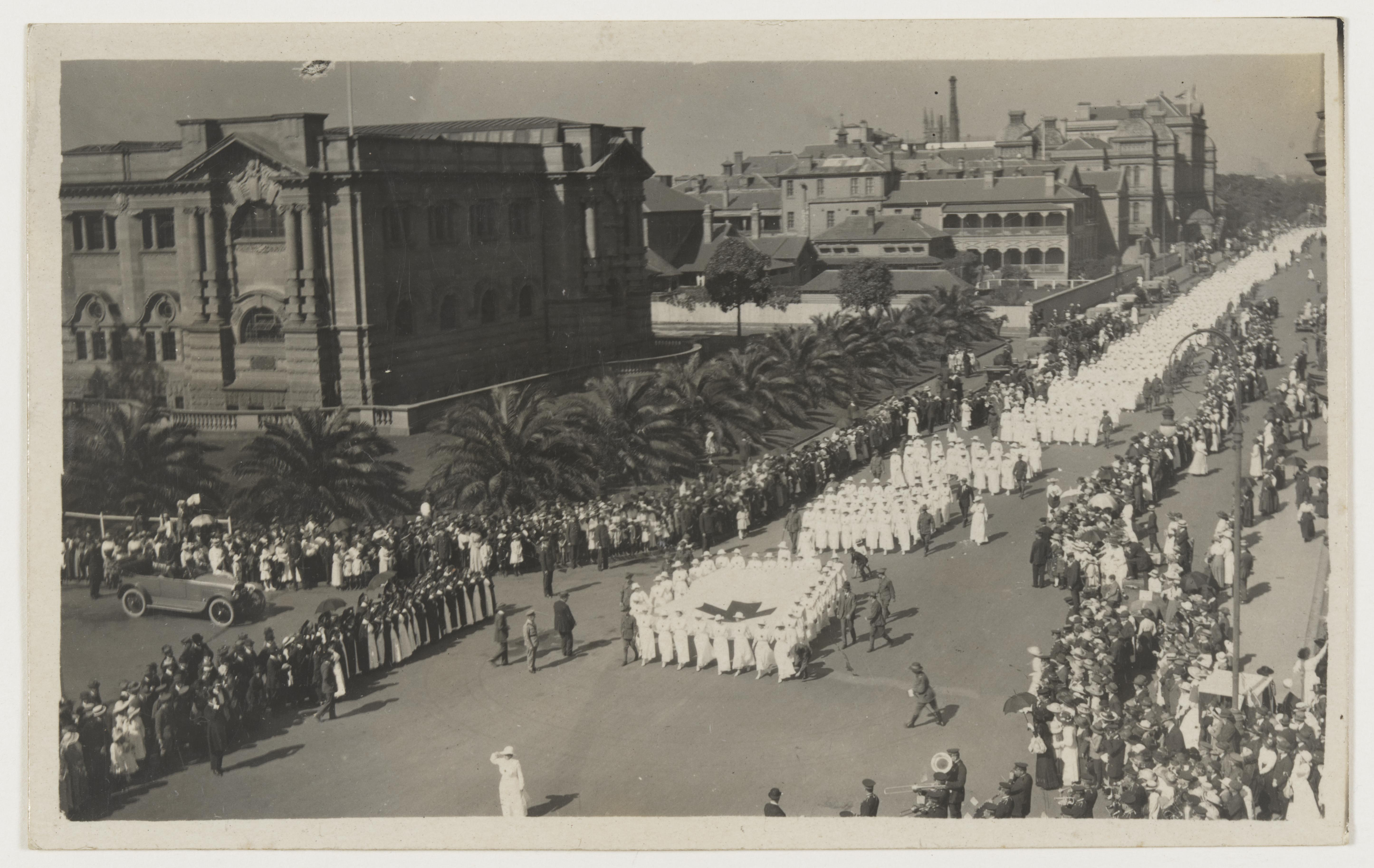 V.A.D. procession Red Cross Day 28th April 1918 / Photo taken by Jas Spence, Turramurra from top of Library Building