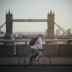 Morning cycle over London bridge