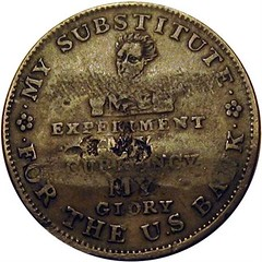Brewer Counterstamp on 1834 Hard Times token reverse