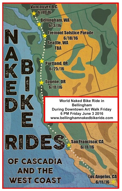 Bellingham and other cities on USA west coast with WNBR ride dates for 2016