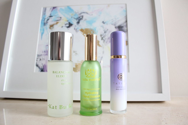 Kat Burki, Tata Harper, Tatcha facial essence spray review