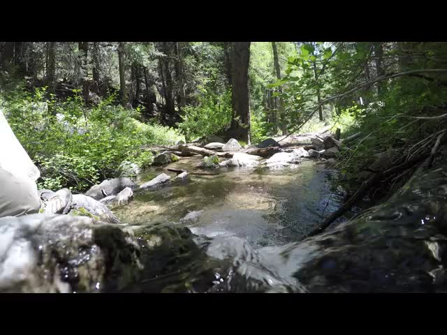 281 Whimsical video of an imaginary kayak going over the small waterfall into the bubbling pool on Alger Creek