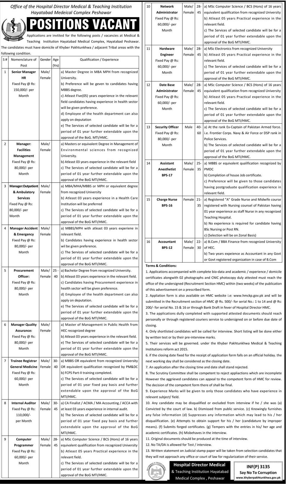 Hayatabad Medical Complex Jobs 2016