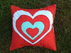 reverse applique love heart cushion