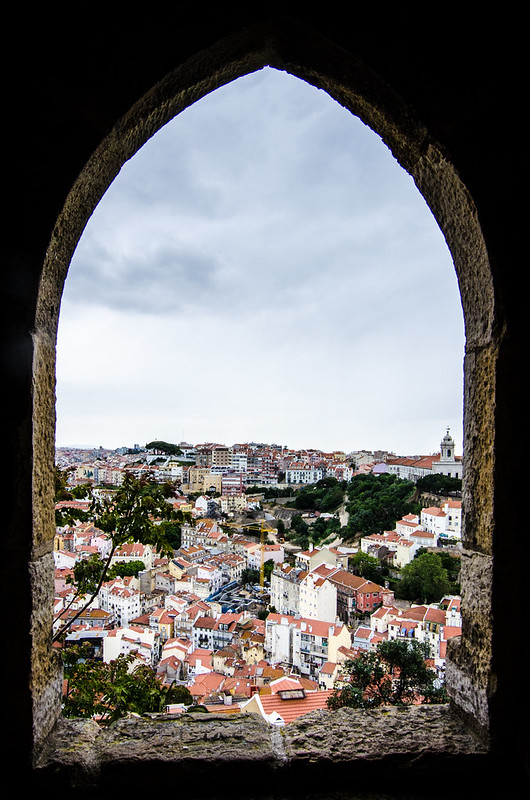 A fantastic view of hilly Lisbon from the top of St. George's Castle.