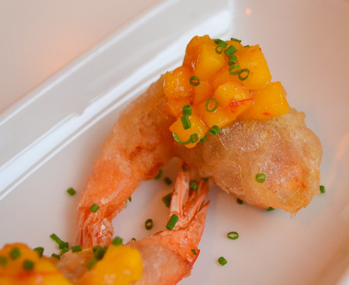 Tempura Prawns with Bayonne Ham and Mangoes