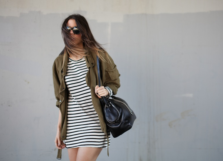 Modern Legacy fashion style blog Australia Isabel Marant khaki jacket Ulyse Bassike stripe dress Wang Jamie tote bag wedge sneakers Celine Audrey (10 of 12)