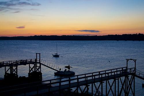 ocean sunrise boats coast dock maine coastal harpswell
