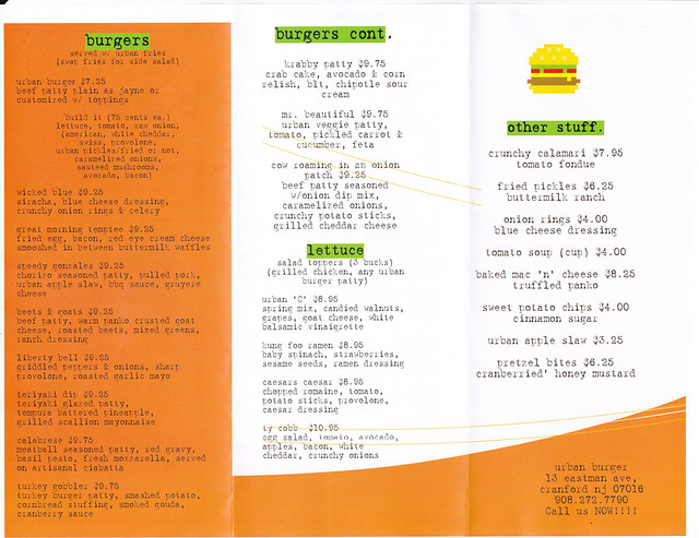 Urban Burger Menu 2