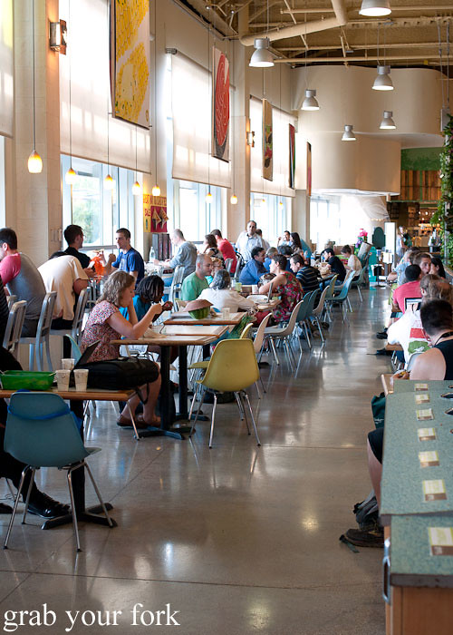 takeaway dining area at whole foods market flagship store supermarket groceries austin texas