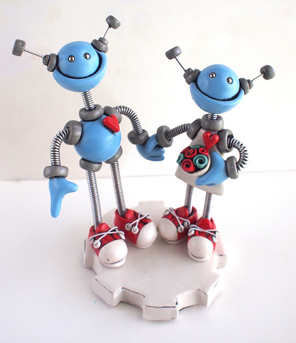 Robot Wedding Cake Topper: Blue in a Good Way by HerArtSheLoves