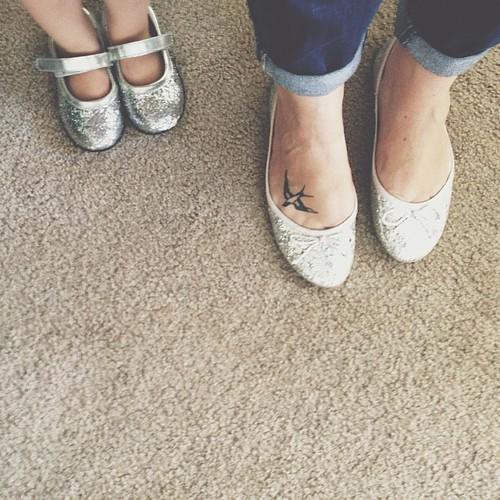 Sparkle shoe twins.