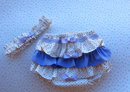 Kit - Tapa fraldas e tiara by Cute for Baby by Mirian Rezende