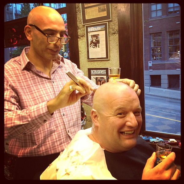 Barber And Shave Shoppe : Barber shop after hours.....head shave and a little Brandy with Jak ...