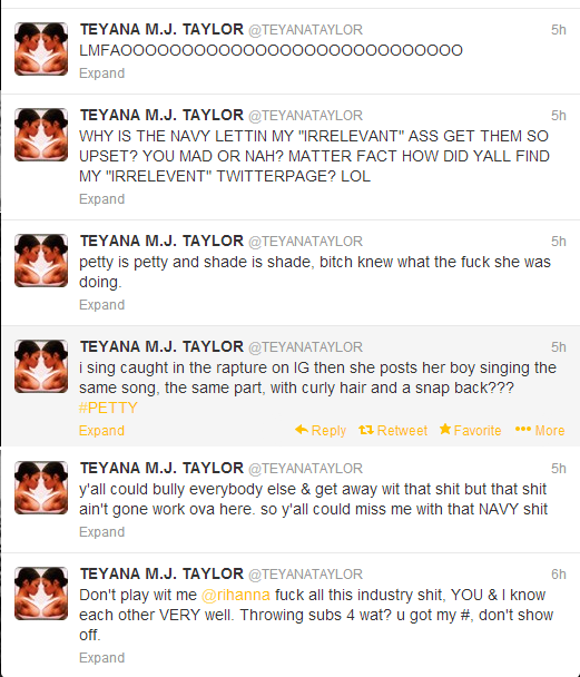 Teyana Taylor sets it off on Rihanna. Your industry P--sy, You aint about that life