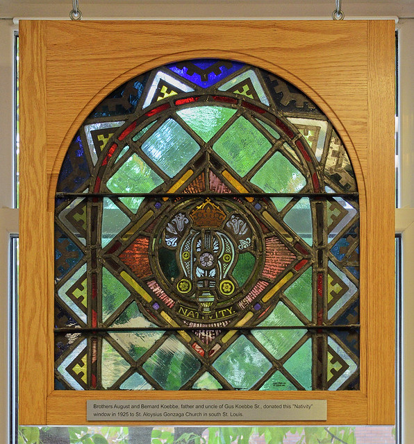 Gus' Pretzel, in Saint Louis, Missouri, USA - stained glass window of the nativity, from the demolished Saint Aloysius Gonzaga Church