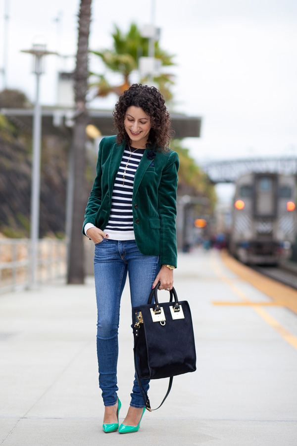 green velvet blazer, sophie hulme hair-calf mini tote, petite fashion blogger, los angeles