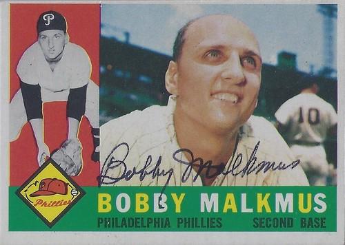1960 Topps - Bobby Malkmus #251 (Second Baseman) - Autographed Baseball Card (Philadelphia Phillies)