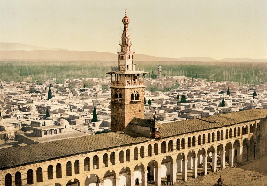 23. Minarete de la Novia, en Damasco. Fotocomposición fechada en 1900. Autor, Trialsanderrors
