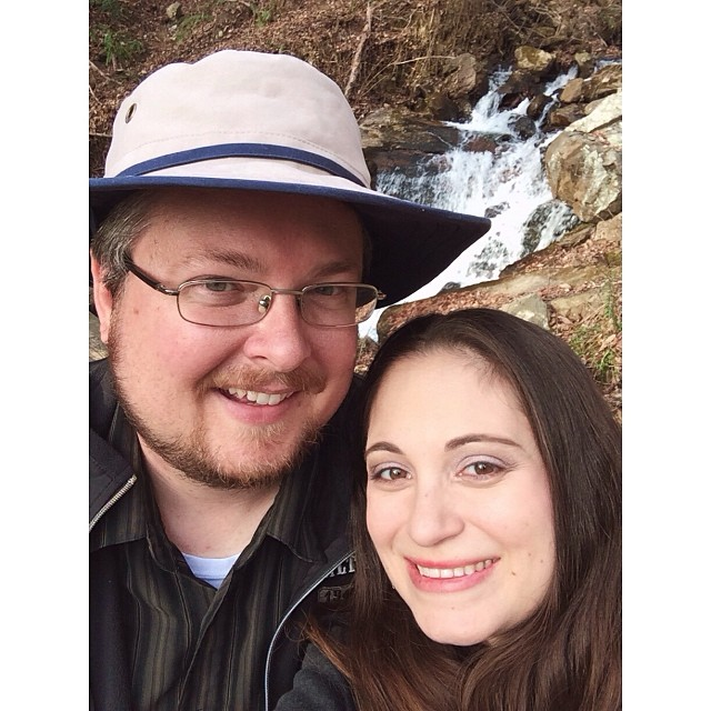 Super dorky #selfie of me and my hubby in front of the #falls but we had to take a pic! #pictapgo_app #waterfall #amicalolafalls #hiking #familyvacation