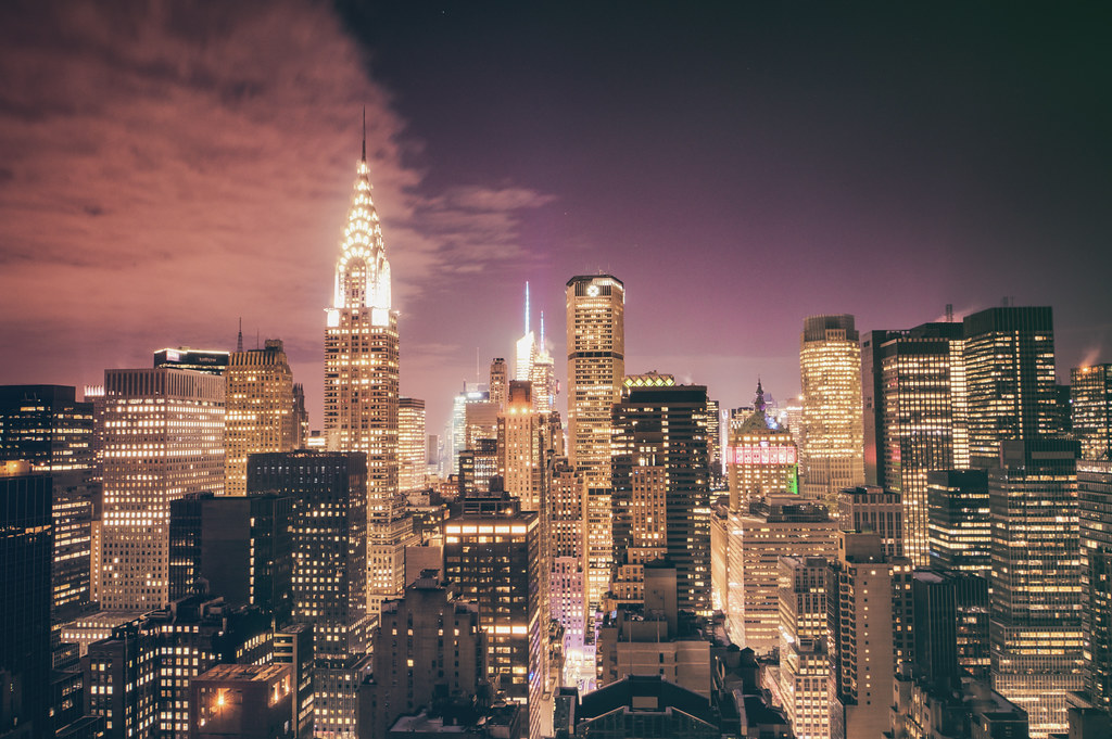 New York City Skyline and Chrysler Building - Night - Facing West--