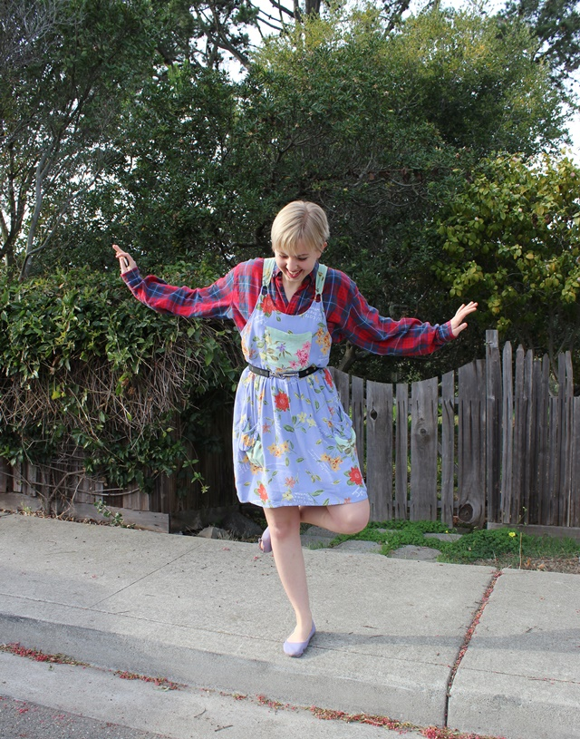 Lavender Floral Dress, Dark Red Plaid Shirt - OOTD 1/1/2014