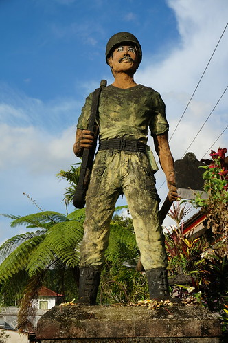Statue of soldier in Munduk - reminder of the Dutch occupation, Bali