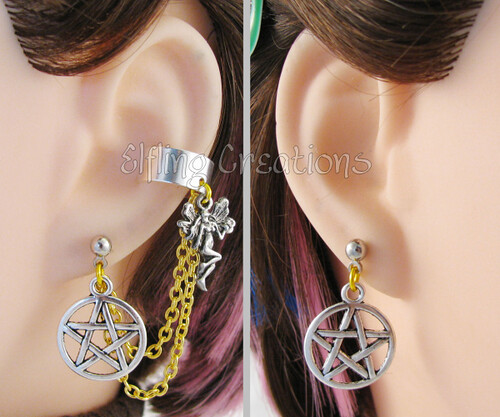 Silver and Gold Fairy Pentagram Chain Earrings