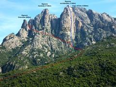 Massif du Capu d'Ortu et des Tre Signore avec le parcours des ravins Nord d'I Signori et la voie d'escalade 'Tangue au coeur des rêves'