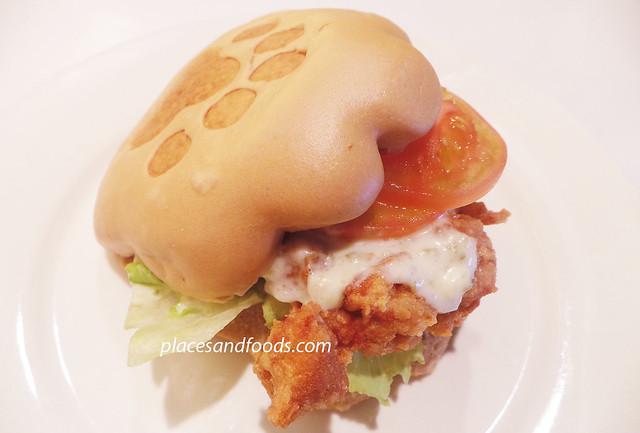 kumamono brown sugar burger with spicy chicken