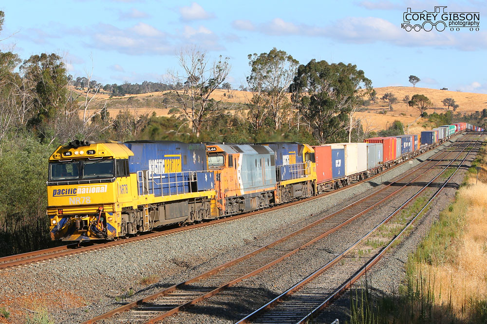 NR78, DL44 & NR106 heads the freight out towards Kilmore East with the MC2 by Corey Gibson